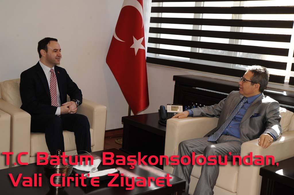 T.C Batum Başkonsolosu Temizkan, Vali Cirit'i Ziyaret Etti
