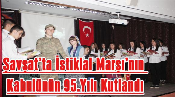 Şavşat'ta İstiklal Marşı'nın Kabulünün 95.Yılı Kutlandı